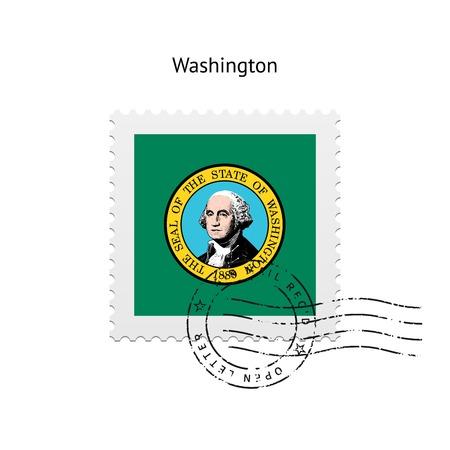 Estado de Washington sello de correos de la bandera en el fondo blanco. Ilustración del vector. Ilustración de vector