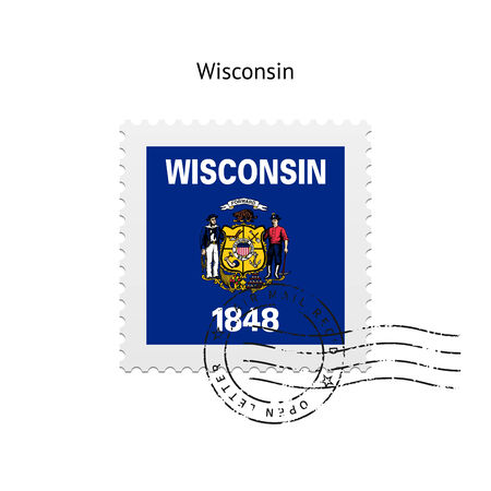 wi: State of Wisconsin flag postage stamp on white background. Vector illustration.
