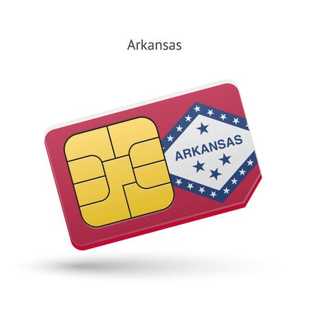 State of Arkansas phone sim card with flag. Vector illustration. Vector