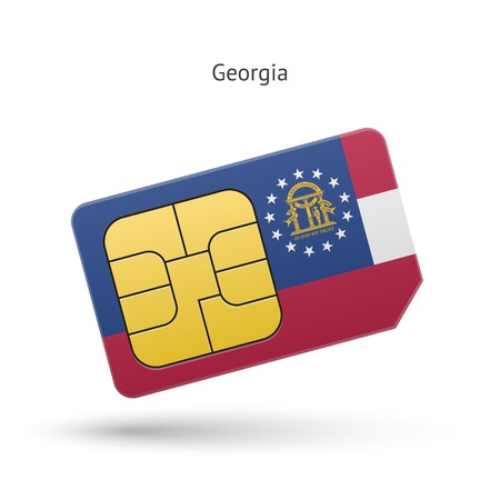 State of Georgia phone sim card with flag. Vector illustration. Vector