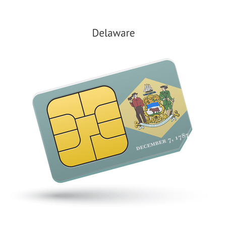 simcard: State of Delaware phone sim card with flag. Vector illustration.