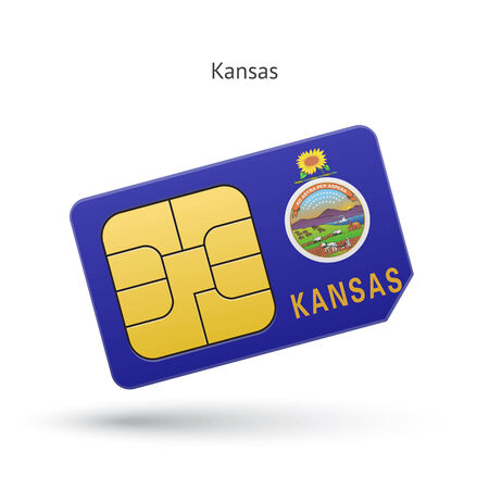 State of Kansas phone sim card with flag. Vector illustration.