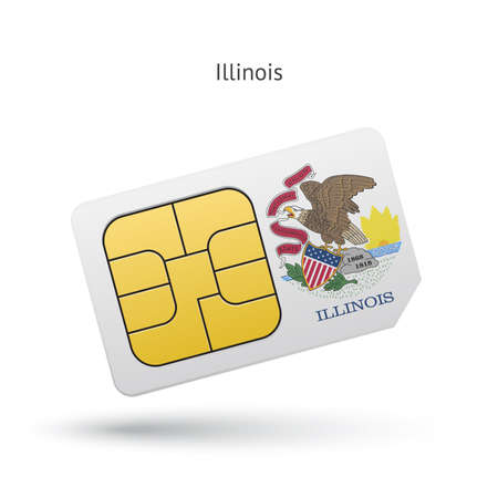 simcard: State of Illinois phone sim card with flag. Vector illustration. Illustration