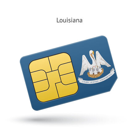 baton rouge: State of Louisiana phone sim card with flag. Vector illustration.