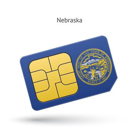 ne: State of Nebraska phone sim card with flag. Vector illustration.