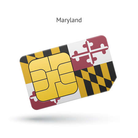 sim card: State of Maryland phone sim card with flag. Vector illustration.