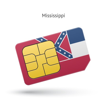 State of Mississippi phone sim card with flag. Vector illustration. Vector
