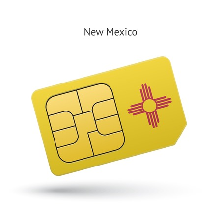 State of New Mexico phone sim card with flag. Vector illustration.