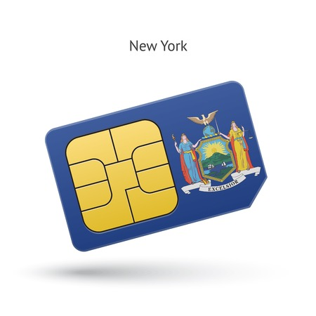 albany: State of New York phone sim card with flag. Vector illustration.