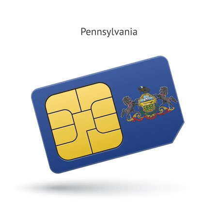 State of Pennsylvania phone sim card with flag. Vector illustration. Vector