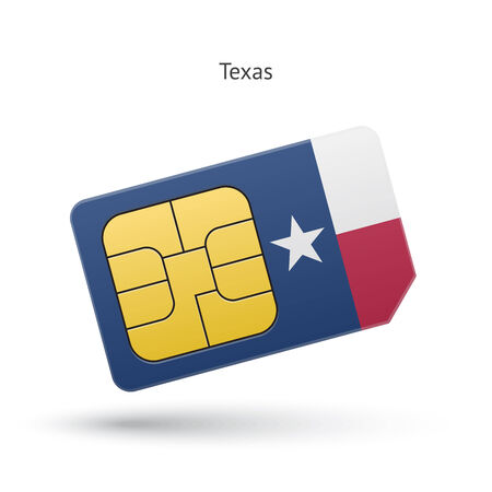 tx: State of Texas phone sim card with flag. Vector illustration.