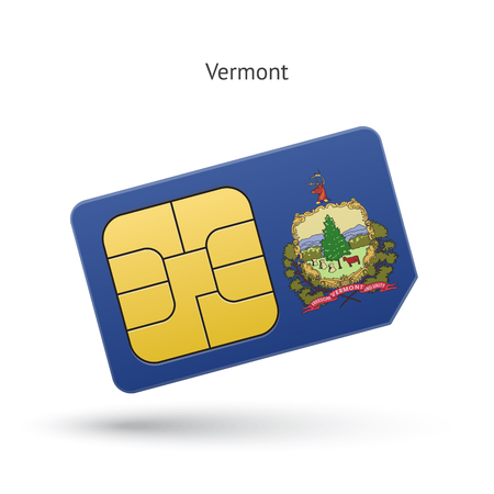 simcard: State of Vermont phone sim card with flag. Vector illustration. Illustration