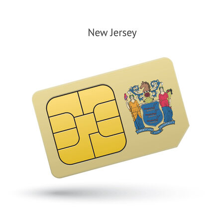 new jersey: State of New Jersey phone sim card with flag. Vector illustration.