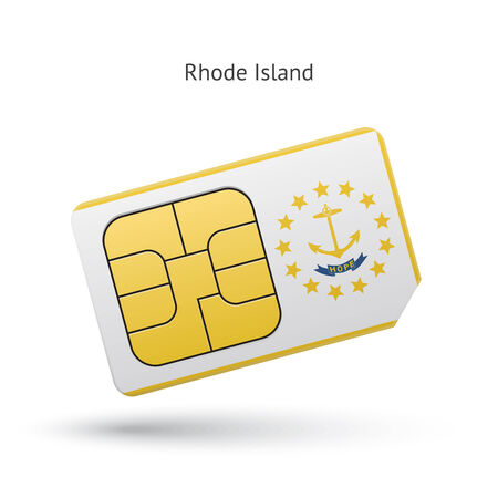 simcard: State of Rhode Island phone sim card with flag. Vector illustration.