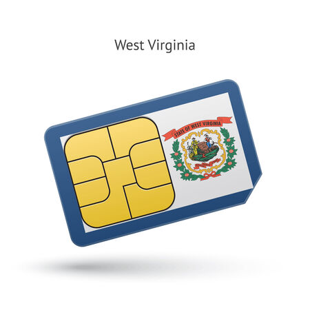 simcard: State of West Virginia phone sim card with flag. Vector illustration.