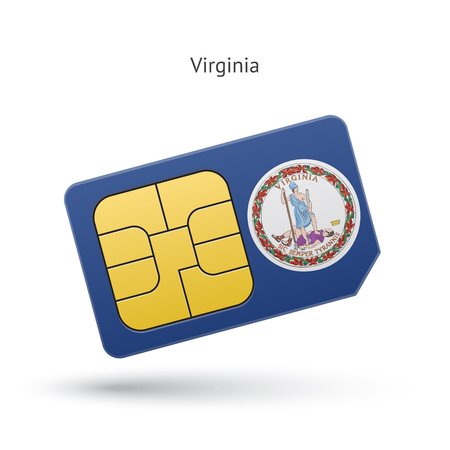 simcard: State of Virginia phone sim card with flag. Vector illustration.