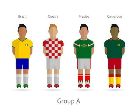 Soccer  Football teams. 2014 World Cup Group A - Brazil, Croatia, Mexico, Cameroon. Vector illustration.