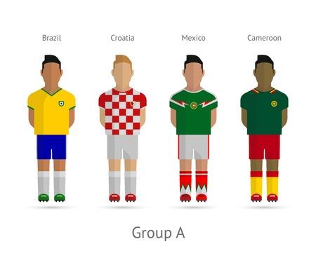 Voetbal  Voetbal teams. WK 2014 Groep A - Brazilië, Kroatië, Mexico, Kameroen. Vector illustratie.