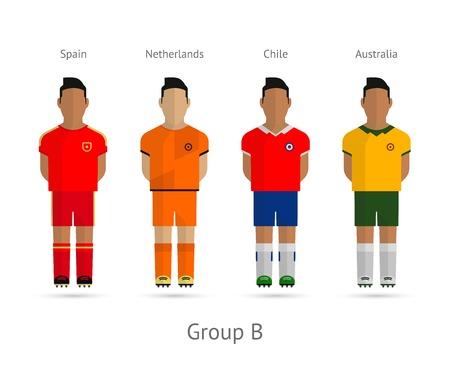 Voetbal  Voetbal teamspelers. 2014 World Cup Groep B - Spanje, Nederland, Chili, Australië. Vector illustratie. Stock Illustratie