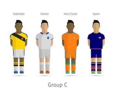 Voetbal  Voetbal teamspelers. WK 2014 Groep C - Colombia, Griekenland, Ivoorkust, Japan. Vector illustratie.