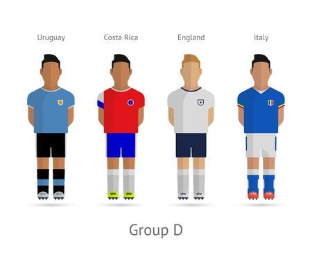 Voetbal  Voetbal teamspelers. WK 2014 Groep D - Uruguay, Costa Rica, Engeland, Italië. Vector illustratie.