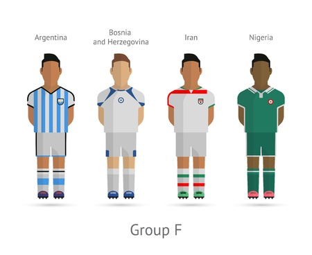 Soccer  Football team players. 2014 World Cup Group F - Argentina, Bosnia and Herzegovina, Iran, Nigeria. Vector illustration.
