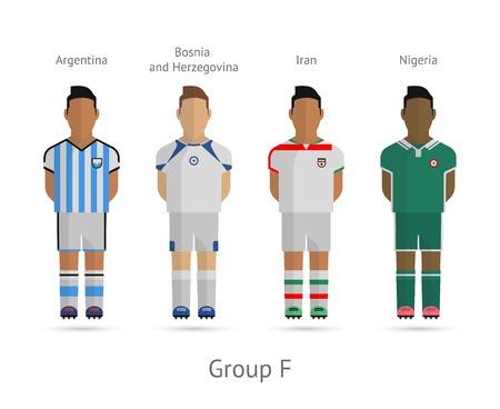 Voetbal  Voetbal teamspelers. WK 2014 Groep F - Argentinië, Bosnië en Herzegovina, Iran, Nigeria. Vector illustratie.