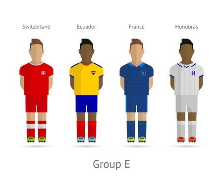 Voetbal  Voetbal teamspelers. WK 2014 Groep E - Zwitserland, Ecuador, Frankrijk, Honduras. Vector illustratie. Stock Illustratie
