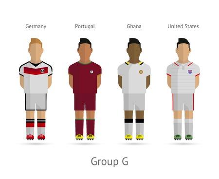 Voetbal  Voetbal teamspelers. WK 2014 Groep G - Duitsland, Portugal, Ghana, Verenigde Staten. Vector illustratie.