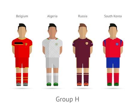 Voetbal  Voetbal teamspelers. WK 2014 Groep H - België, Algerije, Rusland, Zuid-Korea. Vector illustratie.
