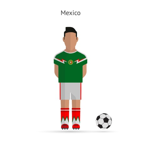 National football player. Mexico soccer team uniform. Vector illustration. Vector