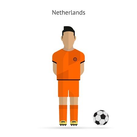 国民のフットボールのプレーヤー。オランダ サッカー チームのユニフォーム。ベクトル イラスト。