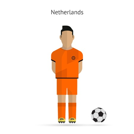 National football player. Netherlands soccer team uniform. Vector illustration. Ilustrace