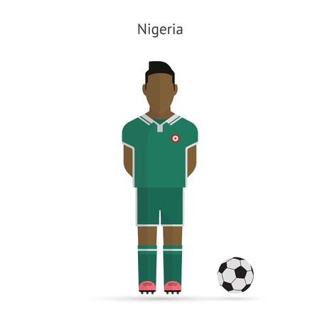 National football player. Nigeria soccer team uniform. Vector illustration. Vector