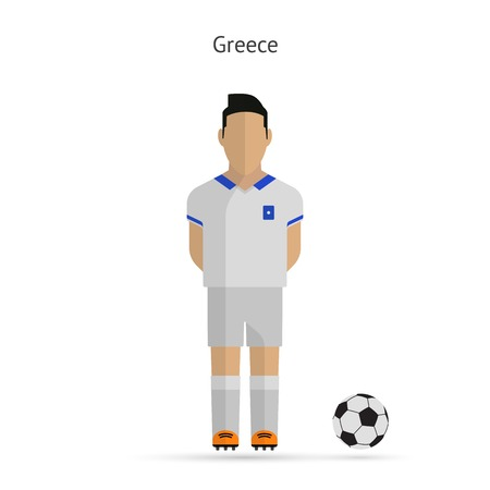 National football player. Greece soccer team uniform. Vector illustration. Vector