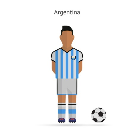 National football player. Argentina soccer team uniform. Vector illustration. Vector