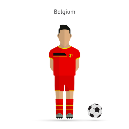 National football player. Belgium soccer team uniform. Vector illustration. Vector