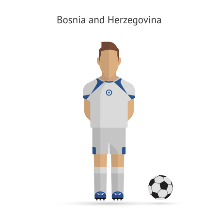 National football player. Bosnia and Herzegovina soccer team uniform. Vector illustration. Vector