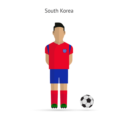 National football player. South Korea soccer team uniform. Vector illustration. Vector