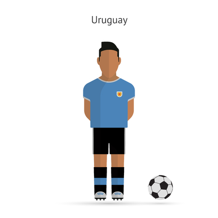 National football player. Uruguay soccer team uniform. Vector illustration. Vector