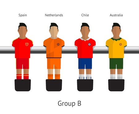 tabletop: Table football, soccer players. Group B - Spain, Netherlands, Chile, Australia. Vector illustration.