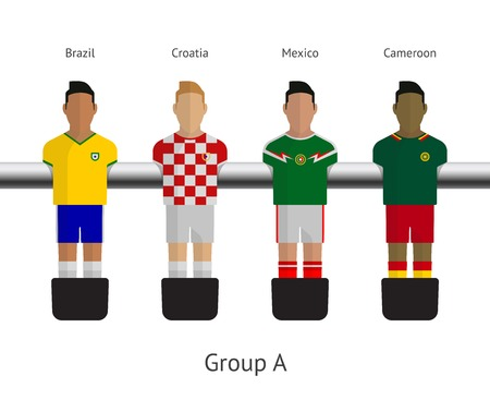 Table football, soccer players. Group A - Brazil, Croatia, Mexico, Cameroon. Vector illustration. Vector