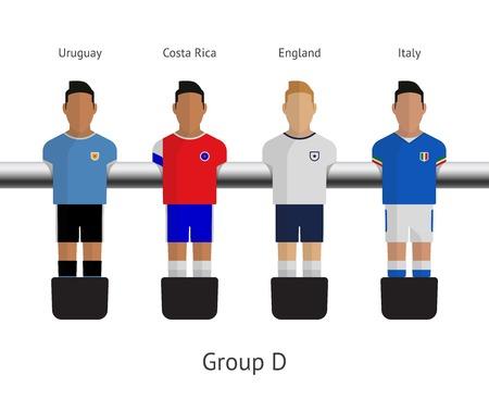 Table football, soccer players. Group D - Uruguay, Costa Rica, England, Italy. Vector illustration.