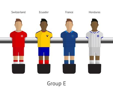Table football, soccer players. Group E - Switzerland, Ecuador, France, Honduras. Vector illustration.