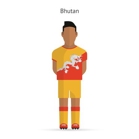 bhutan: Bhutan voetballer. Uniform Soccer. Vector illustratie.