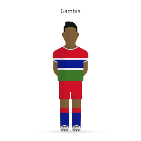 gambia: Gambia football player. Soccer uniform. Vector illustration.