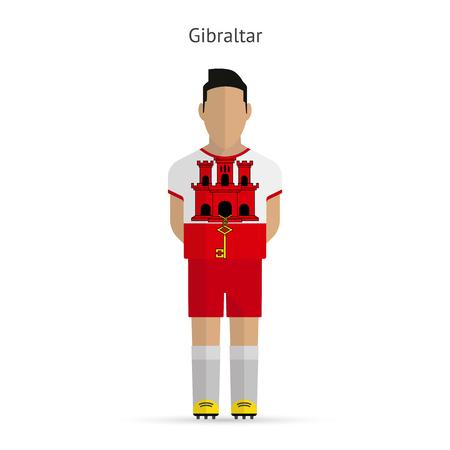 gibraltar: Gibraltar football player. Soccer uniform. Vector illustration.