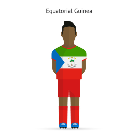 equatorial: Equatorial Guinea football player. Soccer uniform. Vector illustration.