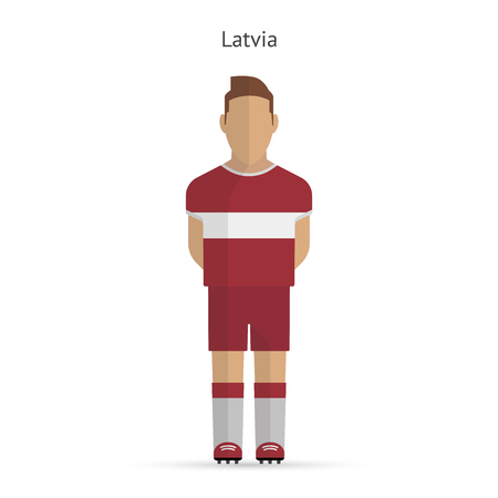 Latvia football player. Soccer uniform. illustration. Vector