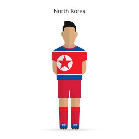 North Korea football player. Soccer uniform. illustration. Vetores